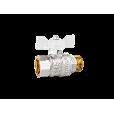 Кран шаровой латунный LD Pride 47.15.B-Н.Б (White) Ду 15 Ру 40 вн-нр, бабочка